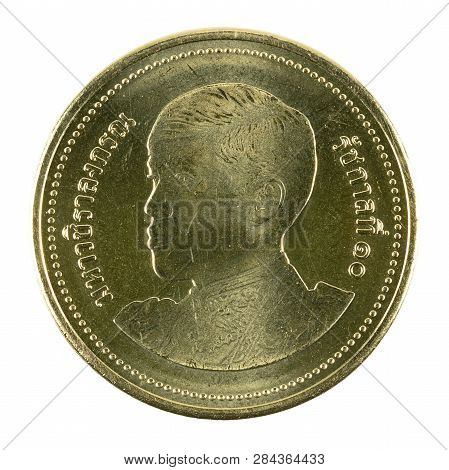 2 New Thai Baht Coin (2018) Obverse Isolated On White Background