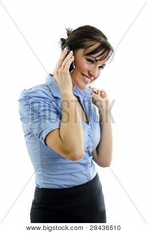 Business Woman Speaking On The Phone, Isolated On White