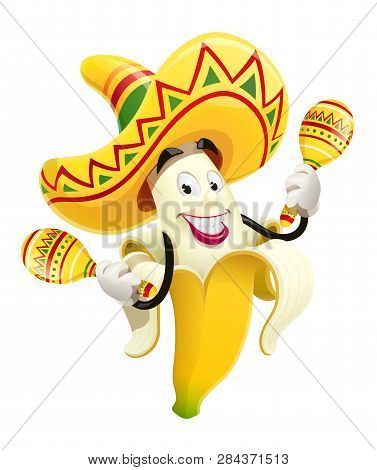 Ripe Banana With Maracas. Tropical Fruit. Cinco De Mayo Mexico Holiday. Smiling Cartoon Character Pl