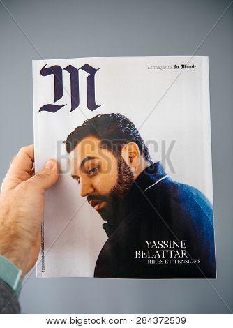 Paris, France - Apr 28, 2018: Man Holding M Magazine Le Monde With Yassine Belattar Photo On The Cov