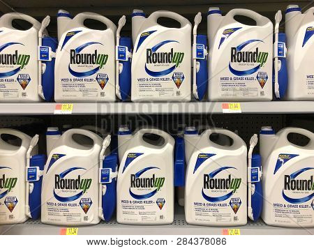 San Leandro, Ca - February 13, 2019: Garden Supply Store Shelf With Containers Of Roundup Weed Kille