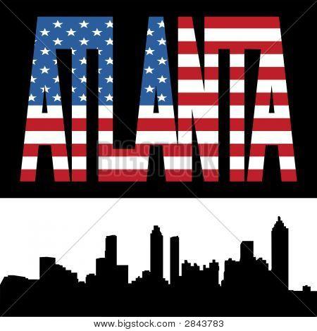 Atlanta Skyline With Flag Text