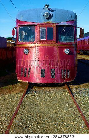 January 19, 2019 In Ft Bragg, Ca:  Vintage Locomotive Engine Taken At The Skunk Train Rail Depot In