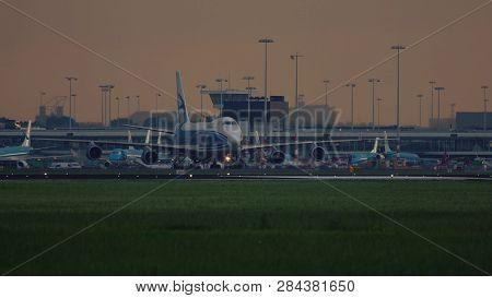 Amsterdam, Netherlands - July 25, 2017: Airbridge Cargo Boeing 747 Ride To Runway Before Departure F