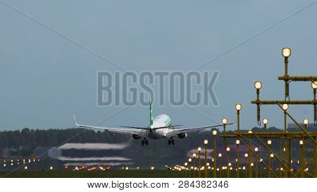 Amsterdam, Netherlands - July 27, 2017: Rear View Of Boeing 737 Of Transavia Airlines Approaching To