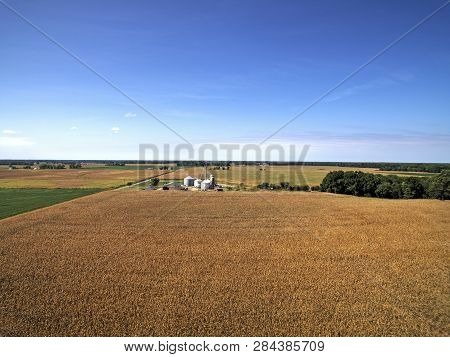 Aerial View Of Cornfields And Farms Smyrna Delaware