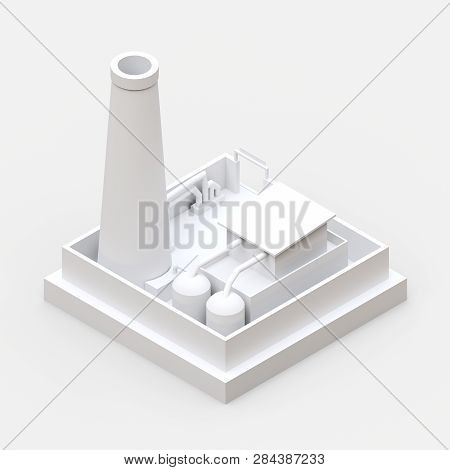 Isometric Cartoon Factory In The Style Of Minimal. White Building On A White Background. 3d Renderin