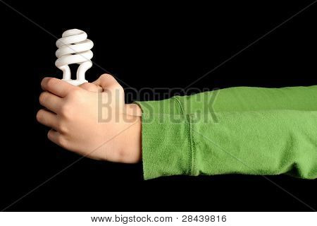 Hands Holding Compact Fluorescent Bulb