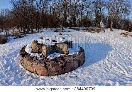 Pagan's Altar On Lysa Hora (khorevytsya) Or Zamkova Hora In Kyiv,ukraine. This Hill Has A Mystical P