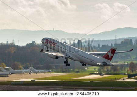 Swiss Airlines Plane Take Off On Zurich Airport Close Up Of A Plane Taking Off On Runway. Swiss Airl