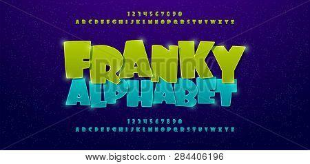 Franky Comics Alphabet Font. Typography Comic Logo Or Movie Fonts Designs Concept. Vector Illustrati