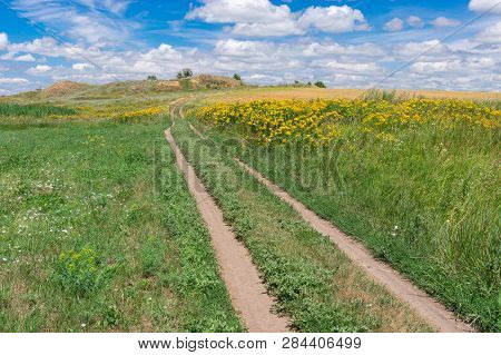 Summer Landscape With An Earth Road Through Flowering Meadow And Agricultural Field Near Dnipro City