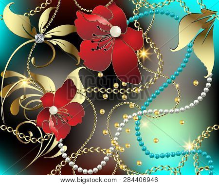 3d floral jewelry gemstones vector seamless pattern. Colorful ornate glowing background. Modern repeat shiny backdrop. Red 3d flowers, leaves, diamond, white pearls, gold chains, chaplet, beads. poster