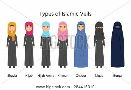 Islamic Women Clothes. Muslim Veils. Vector. Types Of Hijab. Female Characters In Arab Traditional C