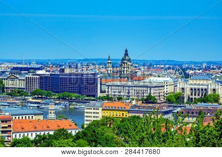 Budapest/hungary- May 6, 2018: Spring Aerial View Of The City From Gellert Hill With Colorful Old Hi