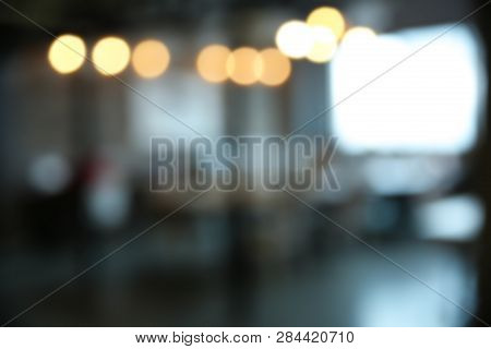 Blurred View Of Modern Comfortable Office Interior