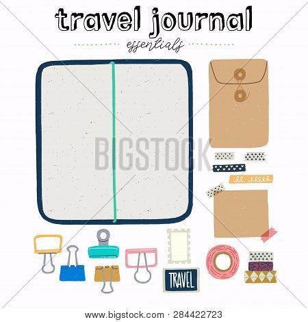 Hand Drawn Flat Style Travel Journal Essentials. Art Journaling Tool Set - Sketchbook In Cover With