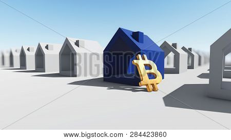 Blue House With Bitcoin Crypto Currency, 3d Rendering