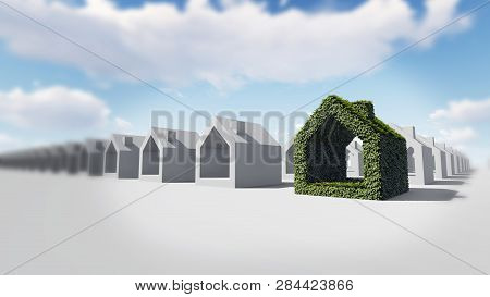 Green House With Green Leaves, 3d Rendering