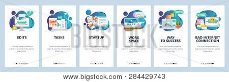 Web Site Onboarding Screens. Business Management And Software Development. Menu Vector Banner Templa