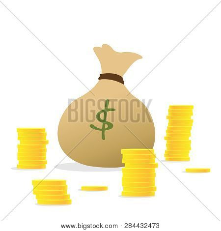 Stacks Of Coins And Money Bag. Concept Of Money Like A Money Bag, Stack Coins. Money Bag And Stackin