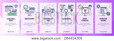Web Site Onboarding Screens. Digital Marketing And Website Promotion. Menu Vector Banner Template Fo