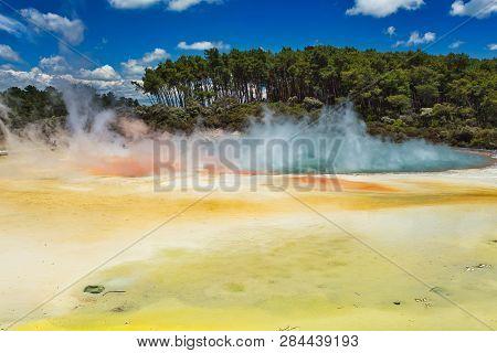 Geothermal Lake Called Champagne Pool At Wai-o-tapu Geothermal Area Near Rotorua, New Zealand