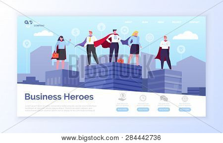 Entrepreneurs In Superman Coats, Business Heroes Webpage Vector. Men And Women In Superhero Outfits