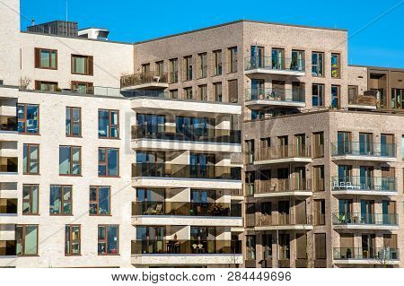 Apartment Houses In The Modern Hafencity In Hamburg