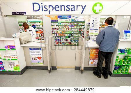 Inside Interior Of A Pharmacy Dispensary In A Mall