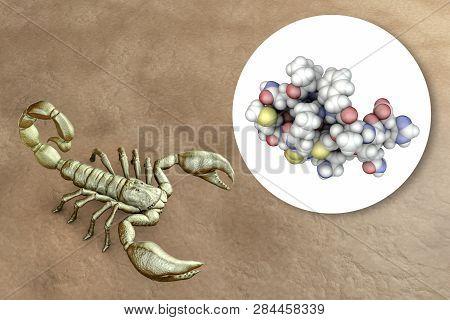 Molecule Of Scorpion Chlorotoxin, 3d Illustration. A Peptide From Venom Of Deathstalker Scorpion Lei