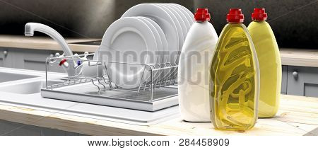 Dish Soap Liquid Detergent Containers In Plastic Bottles On Kittchen Dish Rack Background. 3D Illust
