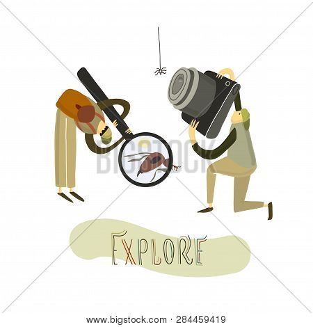 Two Guys Explore The Nature. Hand Drawn Stylized People. Vector Illustration.