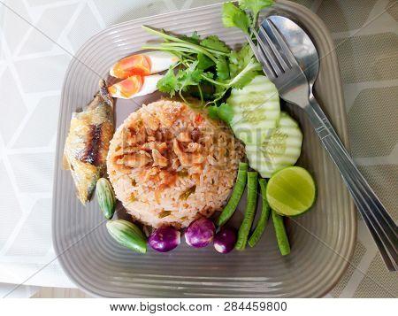 Thai Food Cuisine Named Nam Prik Long Ruea Or Fried Rice With Shrimp Paste Sauce Dry Shrimp Salted E