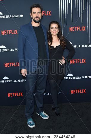 LOS ANGELES - FEB 07:  Jeremy Slater and Melissa Russell arrives for the Netflix's 'The Umbrella Academy' Premiere - Season 1 on February 07, 2019 in Westwood, CA