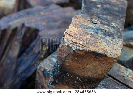 Iron Ore Mineral Rich Cut Ornamental Stone With Cracks