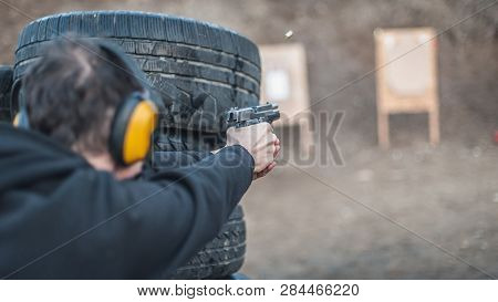 Advanced Outdoor Tactical Shooting On Target Around Barrier And Wall. Civilian Firearm Safety Traini