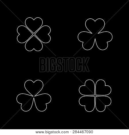 Flat Line Monochrome Clover Leaf Silhouette Set For Web Sites And Apps. Minimal Simple Black And Whi