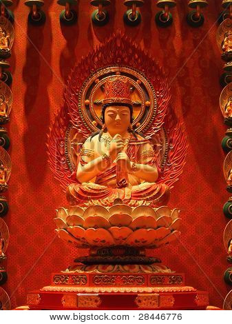 buddha in chinese temple shown a spiritual of buddhist. poster