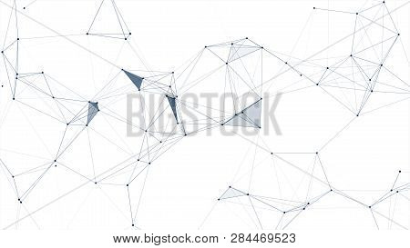 Abstract Connected Dots And Lines On White Background. Communication And Technology Network Concept