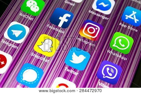 Sankt-petersburg, Russia, February 16, 2019: Apple Iphone X With Icons Of Social Media Facebook, Ins