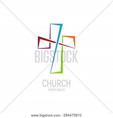 Abstract Christian Cross Logo Vector Template. Church Logo.