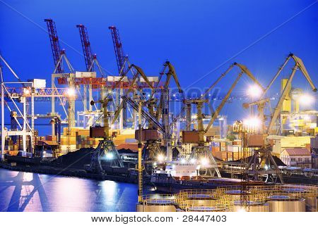 the ship and port at night