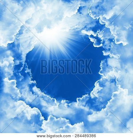 Religion Concept Of Heavenly Background With Dramatic Clouds. Divine Shining Heaven, Light. Sky With