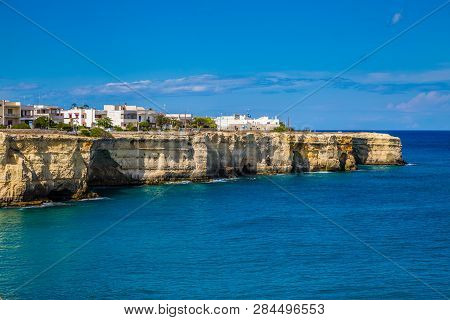 Buildings On Cliff In Torre Dell Orso - Lecce, Puglia, Italy
