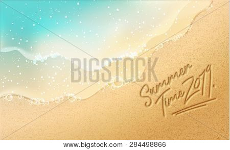 Summer Time Banner. New Trendy Realistic Sand And Sea Texture. Season Vocation, Holiday Logo. Summer