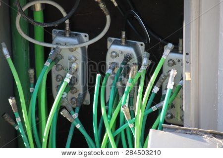 Internet And Cable Coax Cables Replaced By Glass Fiber To Speed Up Connection In Gouda The Netherlan