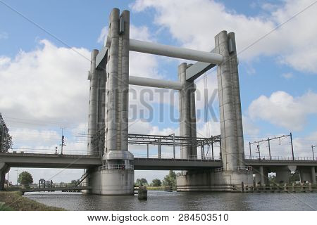 Gouwespoor Vertical Lifting Bridge Over Canal Gouwe At Gouda For Trains In The Netherlands