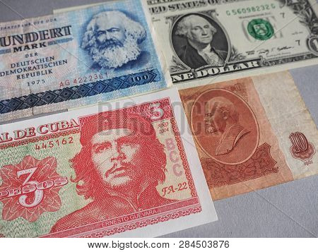 Vintage withdrawn banknotes of Soviet Union, German Democratic Republic, German Empire and Cuba poster