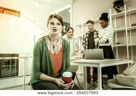 Red-haired Female Student Feeling Like Outcast In Her Study Group